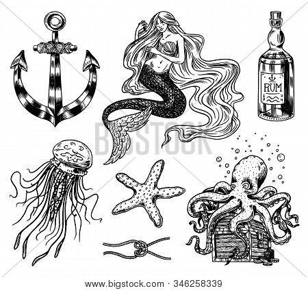 Nautical Adventure Set. Sea Mermaid, Anchor And Marine Captain, Octopus And Shipping Sail, Old Sailo