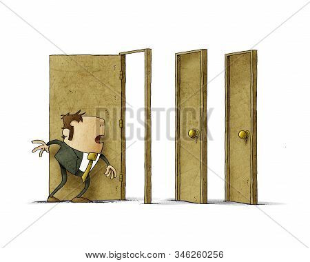 Businessman Has Been Able To Open A Door But The Next Two Are Closed. Isolated