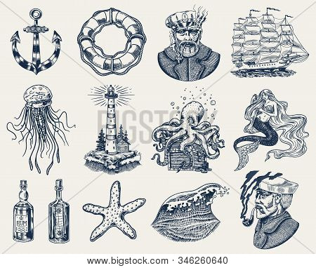 Nautical Adventure Set. Sea Lighthouse, Mermaid And Marine Captain, Octopus And Shipping Sail, Old S