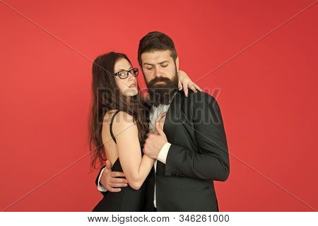 Love Is In The Air. Couple In Love Enjoy Romantic Relations. Bearded Man And Sexy Woman In Loving Re