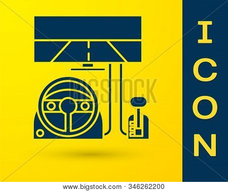 Blue Racing Simulator Cockpit Icon Isolated On Yellow Background. Gaming Accessory. Gadget For Drivi