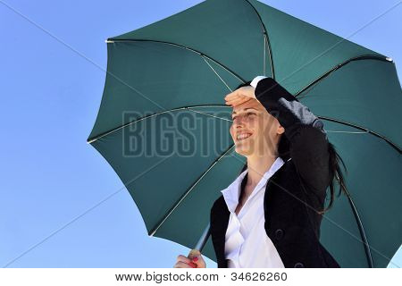 business foresight concept: woman with umbrella