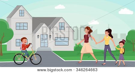 Family Returning Home Flat Vector Illustration. Cute Schoolboy Riding Bicycle, Meeting Neighbors In