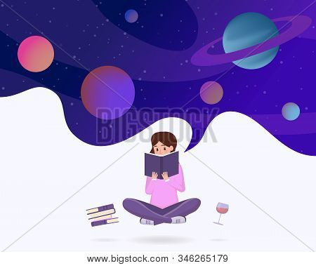 Immersed In Reading Abstract Vector Illustration. Young Girl In Lotus Pose Enjoying Sci Fi Literatur
