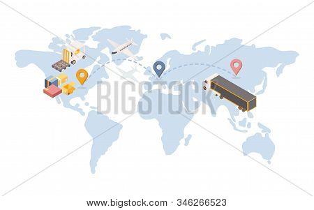 Transatlantic Goods Shipping Isometric Illustration. International Logistic Company With Transportat