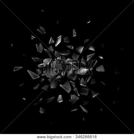Broken, Shatter Glass Isolated On Black Background, Abstract Explosion, Vector Illustration