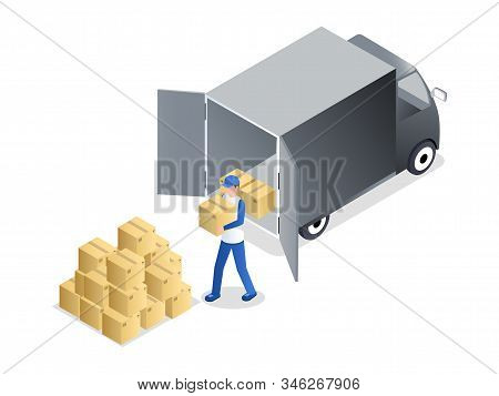 Porter Unloading Cargo Isometric Vector Illustration. Delivery Service Worker In Uniform Carrying Ca