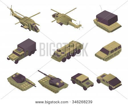 Military Vehicles Isometric Vector Illustrations Set. Modern Army Transport, Armored Aircrafts, Pers