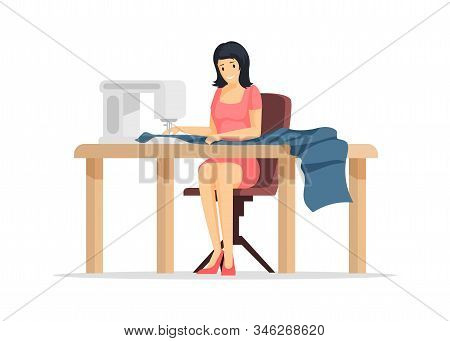 Dressmaking Process Flat Vector Illustration. Young Sewing Factory Worker, Tailor Shop Employee Cart