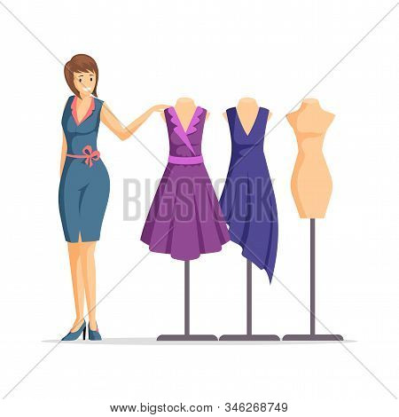 Female Fashion Designer Flat Vector Illustration. Cheerful Dressmaker, Clothing Seller, Model Cartoo