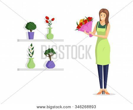 Flower Shop Employee Flat Vector Illustration. Young Florist In Apron Holding Beautiful Bouquet Cart