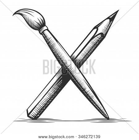 Brush And Pencil. Artist Tools For Drawing. Art Symbol. Instrument For Artist And Graphic Hand Drawn