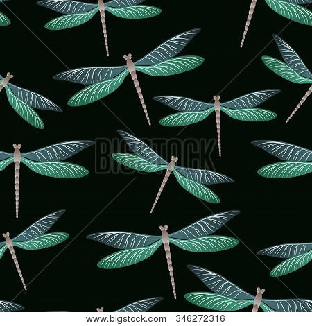 Dragonfly Charming Seamless Pattern. Repeating Clothes Textile Print With Damselfly Insects. Close U