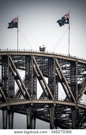 Australian Flags Fly Over The Sydney Harbour Bridge