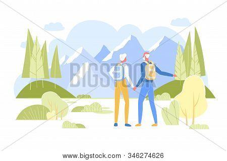 Senior Couple With Backpacks Standing Together Holding Hands Rear View Admiring Beautiful Mountain L