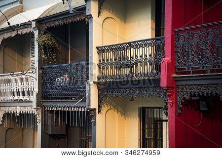 Ironwork On Balconies In Paddington District Of Sydney