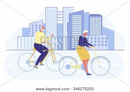 Happy Senior Couple Relaxing Walking With Bike And Talking Together On Modern Cityscape Background.