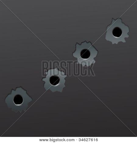 Illustration of gun bullet`s holes