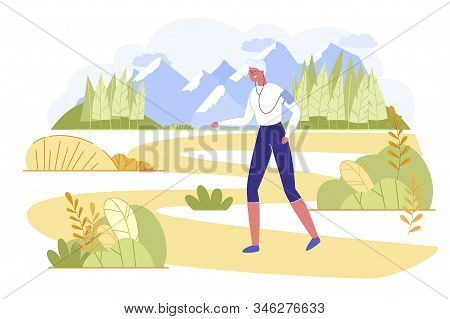 Active Senior Woman Running Sports Exercising. Granny In Sportswear With Smartphone On Shoulder List
