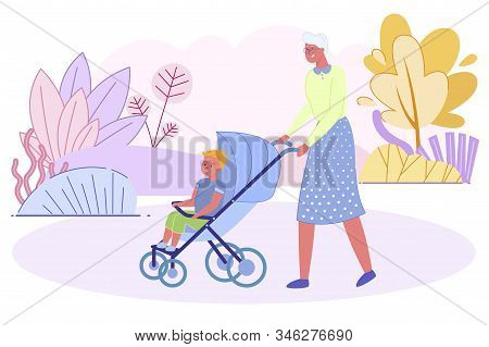 Grandmother Pushing Baby Stroller With Little Grandson Sit Inside Walking In City Park At Summer Tim