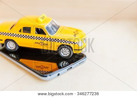 Smartphone Application Of Taxi Service For Online Searching Calling And Booking Cab Concept. Simply