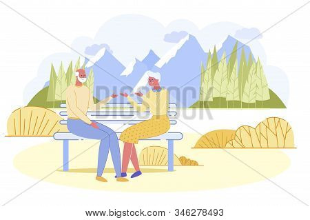 Adorable Senior Couple Sitting On Wooden Bench In Park Communicating To Each Other. Elderly People H