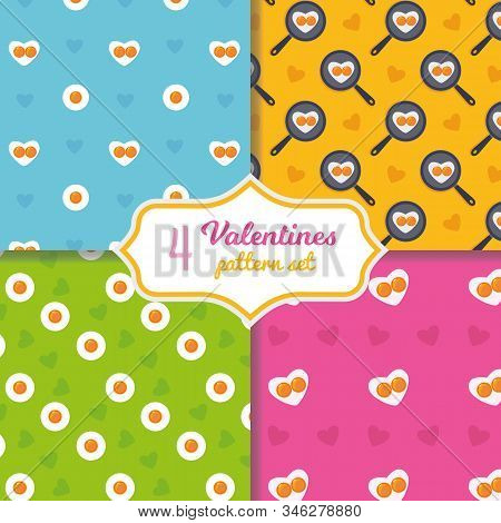 Cute Cartoon Seamless Pattern Set. Heart Shape Fried Eggs On The Pan. Valentines Day Concept. Easter