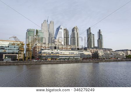 Buenos Aires / Argentina: Dec 14, 2014: View Of Puerto Madero: Water And Modern Buildings, In Buenos