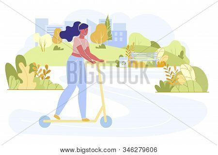 Young Woman Driving Scooter In City Park At Sunny Summer Day. Outdoors Activity, Dweller Lifestyle I