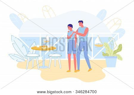 Bright Flyer, Cute Surprise From Husband At Sea. Couple Resting In Beach Resort. They Standing Balco