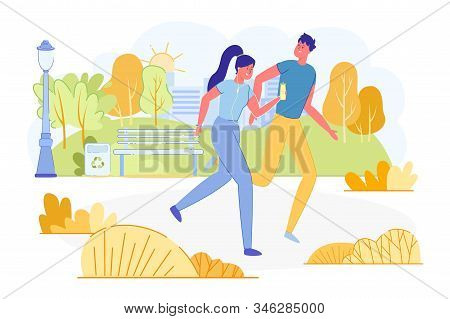 Informational Poster Young Couple Jogging In Park. Man And Woman Are Running Around Park And Smiling