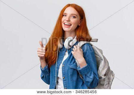 Waist-up Portrait Joyful Cute Redhead Girl Inviting Freshmen Apply Univeristy, Got Scholarship, Smil