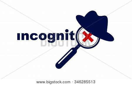 Incognito Vector Concept Magnifying Glass With Hat Like A Spy, Criminal Hiding His Person, Against L