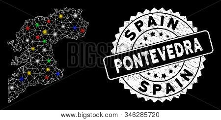Bright Mesh Pontevedra Province Map With Lightspot Effect, And Watermark. Wire Carcass Polygonal Pon
