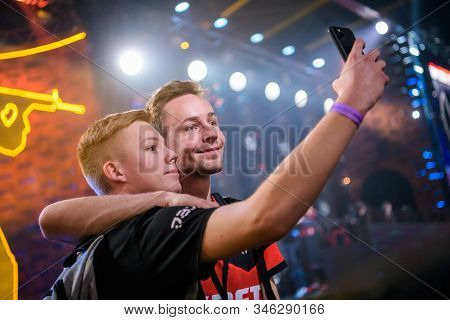 Moscow - December 23 2019: Esports Counter-strike: Global Offensive Event. Happy Dedicated Games Fan