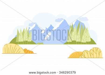 Vector Banner, Magnificent Mountain Landscape. Snowy Blue Mountains, Green Hills And Trees. Pleasant