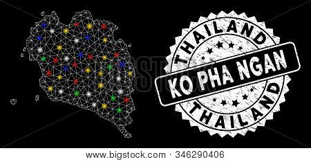 Bright Mesh Ko Pha Ngan Map With Glare Effect, And Rubber Print. Wire Carcass Polygonal Ko Pha Ngan