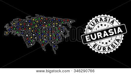 Bright Mesh Eurasia Map With Glare Effect, And Seal Stamp. Wire Carcass Polygonal Eurasia Map Mesh I