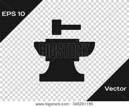 Grey Anvil For Blacksmithing And Hammer Icon Isolated On Transparent Background. Metal Forging. Forg