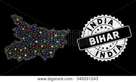 Bright Mesh Bihar State Map With Glare Effect, And Rubber Print. Wire Frame Polygonal Bihar State Ma