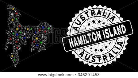 Bright Mesh Hamilton Island Map With Glare Effect, And Watermark. Wire Carcass Triangular Hamilton I
