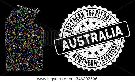 Bright Mesh Australian Northern Territory Map With Lightspot Effect, And Seal. Wire Frame Triangular
