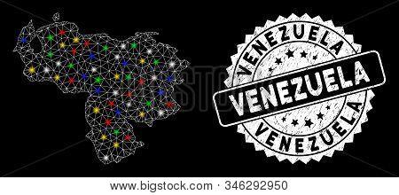 Bright Mesh Venezuela Map With Glow Effect, And Watermark. Wire Carcass Polygonal Venezuela Map Mesh