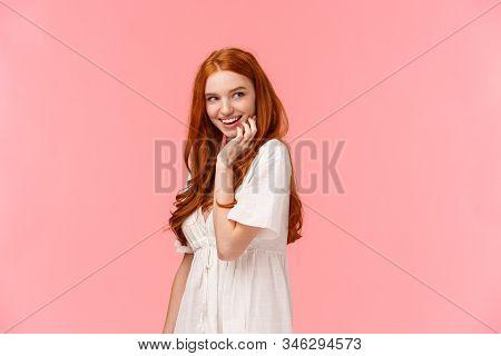 Waist-up Portrait Seducative And Sensual, Coquettish Redhead Flirty Woman In White Dress, Glancing R