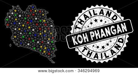 Bright Mesh Koh Phangan Thai Island Map With Lightspot Effect, And Seal. Wire Carcass Triangular Koh