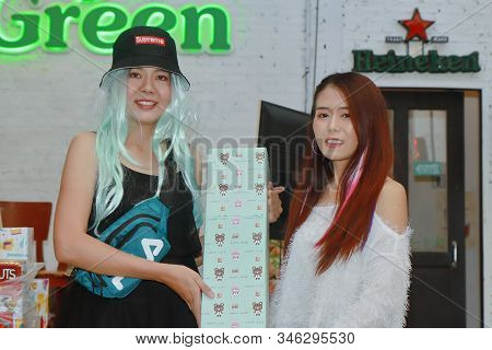 Bangkok,thailand,21 Dec 2019, Office Employees Celebrate The New Year Party By Wearing A Sports Dres