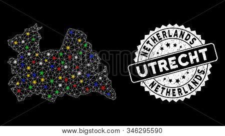 Bright Mesh Utrecht Province Map With Lightspot Effect, And Stamp. Wire Carcass Polygonal Utrecht Pr