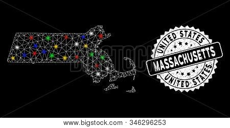 Bright Mesh Massachusetts State Map With Glow Effect, And Seal. Wire Frame Polygonal Massachusetts S
