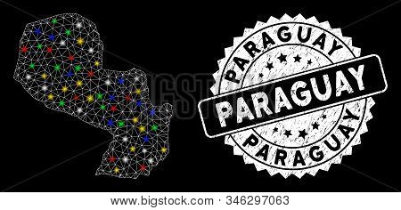 Bright Mesh Paraguay Map With Glare Effect, And Stamp. Wire Carcass Triangular Paraguay Map Mesh In