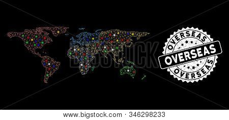 Bright Mesh Overseas Map With Glare Effect, And Seal Stamp. Wire Frame Triangular Overseas Map Mesh